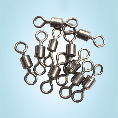 50PCS Ball Bearing Swivel Solid Rings Copper Alloy Fishing Connector Accessories