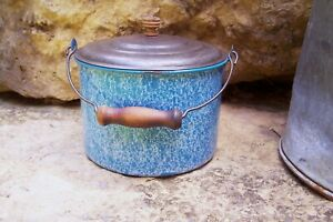 Antique-Blue-White-Speckled-Relish-Graniteware-Berry-Bucket-Tin-Lid-Bail-Handle