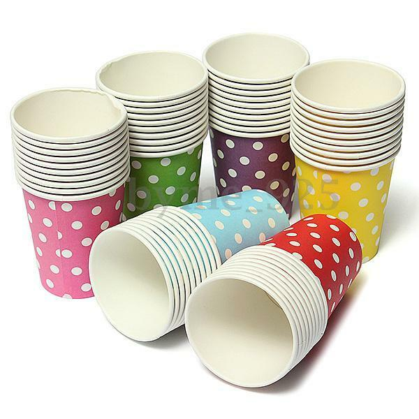 50pcs Paper Cups Polka Dot Disposable Tableware Wedding Birthday Party Decor