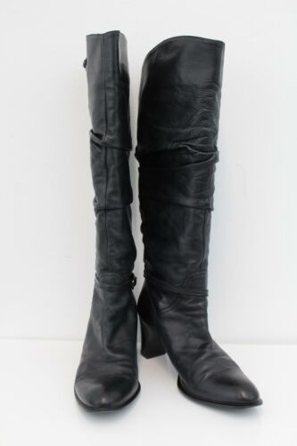 Elastomere Boots 10/40 Black Leather Womens Fabric