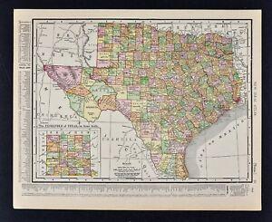 1911 McNally Index Map - Texas - Austin Houston Dallas San Antonio on