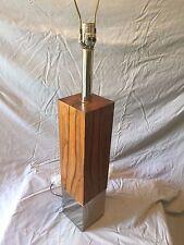 Vintage Table Lamp Mid-Century Modern Rosewood & Chrome Eames Era MOD MCM