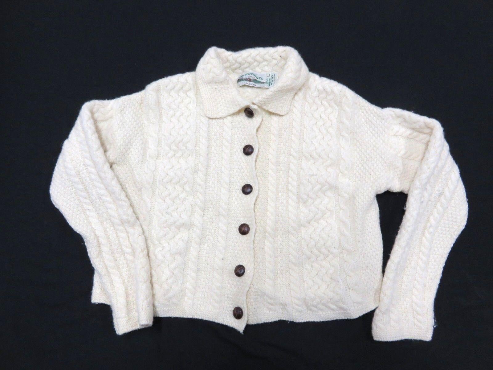 ARANCRAFTS 100% Merino Wool Knit Button Up Sweater Adult Women's Size Large