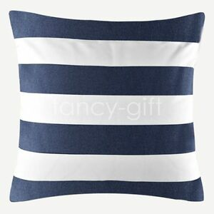 Navy Blue White Stripe Pattern Throw Decor Cushion Cover Pillow Case