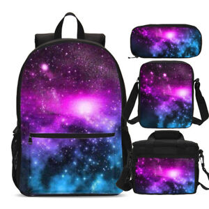 f92ed3d77a Image is loading Galaxy-Cosmos-School-Backpacks-Insulated-Lunch-Box -Crossbody-