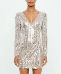 Missguided-Peace-Love-Argent-Pigeonnant-Decore-Bodycon-Robe-Mini-Soiree-UK-8