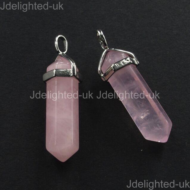 Mixed Natural Gemstone Hexagonal Point Reiki Chakra Pendant Necklaces Beads Pick