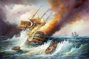 Oil-painting-seascape-Burning-warships-Corsair-sail-boats-Shipwreck-canvas-36-034