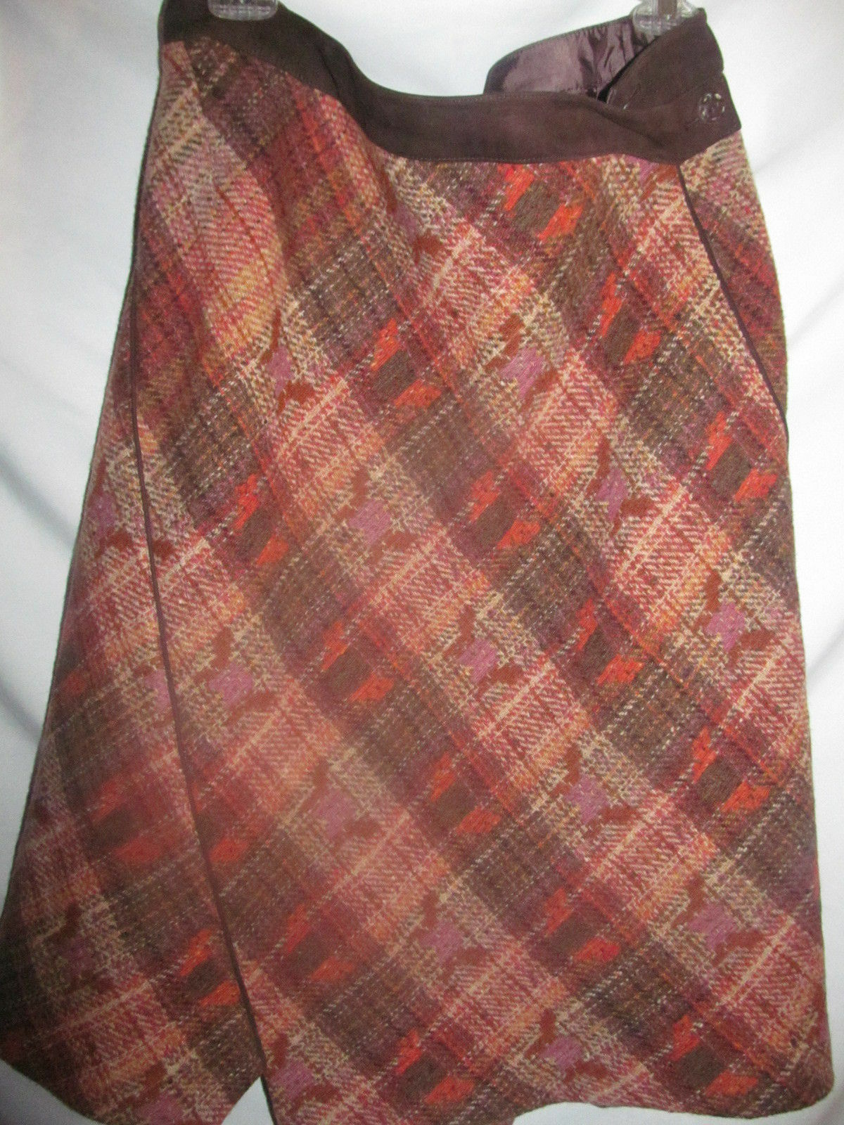 Faconnable Wool and Leather Suede Skirt  SZ 14 MSRP