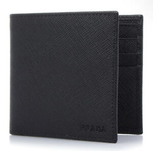 2f3365cfe0a2 Image is loading PRADA-SAFFIANO-Black-Calf-Leather-Wallet-Mens-Bifold-