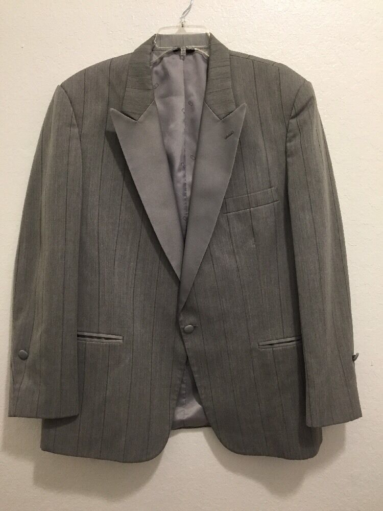 CHRISTIAN DIOR Tuxedo Jacket Gray Striped Men's Measurements listed