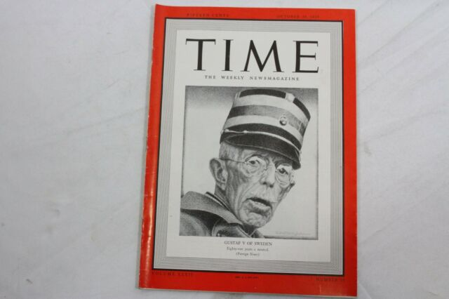 Time Magazine October 30, 1939 GUSTAF V OF SWEDEN Audio Tobacco War ADS