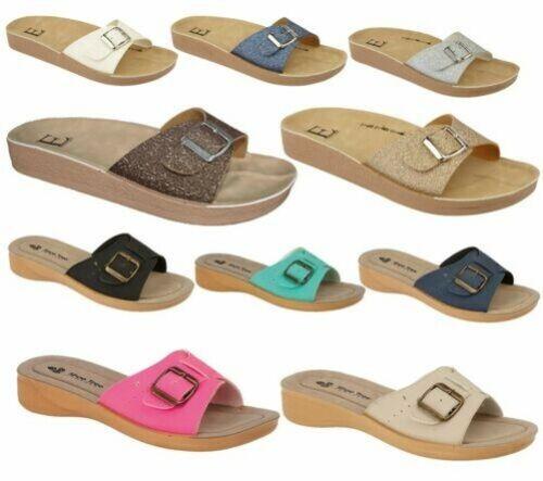 Damen Pantoffeln Hausschuhe Zehentrenner Freizeit Sommer Strand Garten Sandalen