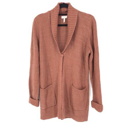 Logo By Lori Goldstein Melange Sweater Knit Cardigan Shawl Collar Marled Rust