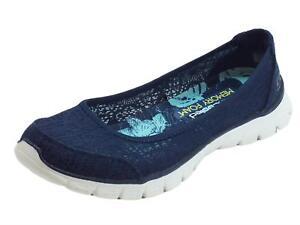 Dettagli su Ballerine Skechers Flex in tessuto macramè blu