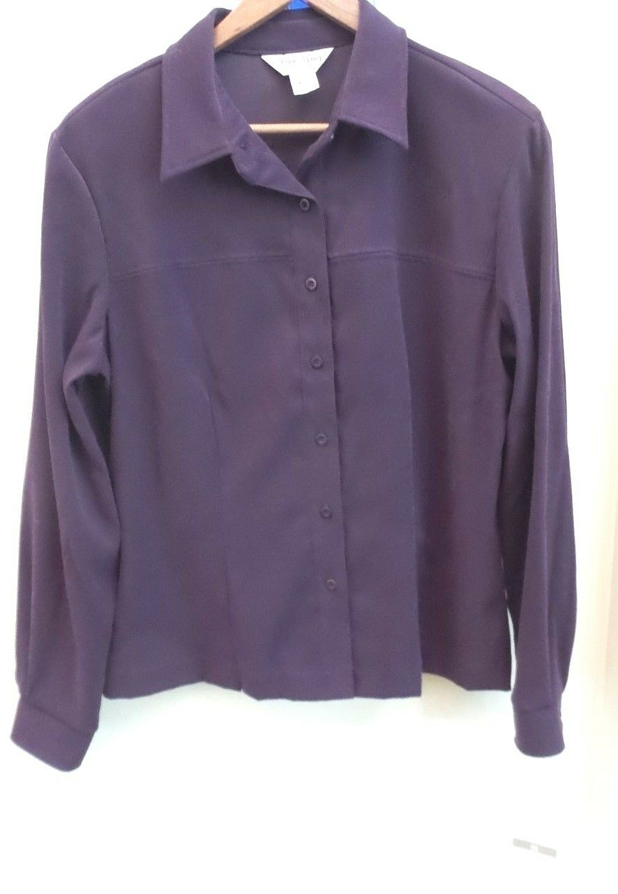 SHARON YOUNG BRAND FAUX SUEDE  MOLESKIN  L S SHIRT, lila, Größe 14, NWT