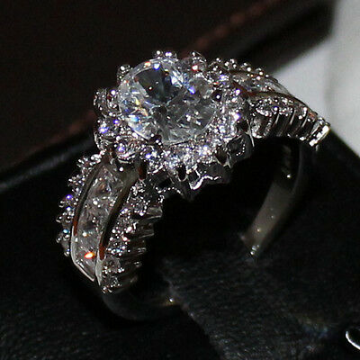 Size 7-11 Deluxe Party White Sapphire 10KT White Gold Filled Wedding Ladys Ring