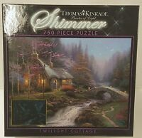 750pc Thomas Kinkade Twilight Cottage Shimmer Jig Saw Puzzle 750 Piece Usa Made
