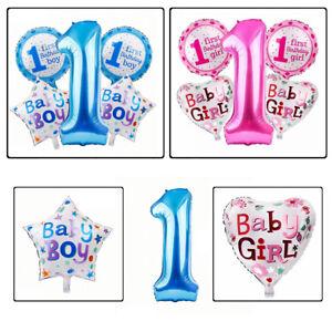 1st-Anniversaire-Baby-Shower-Fille-Garcon-Fete-Decoration-feuille-helium-ballon-Set-5pcs