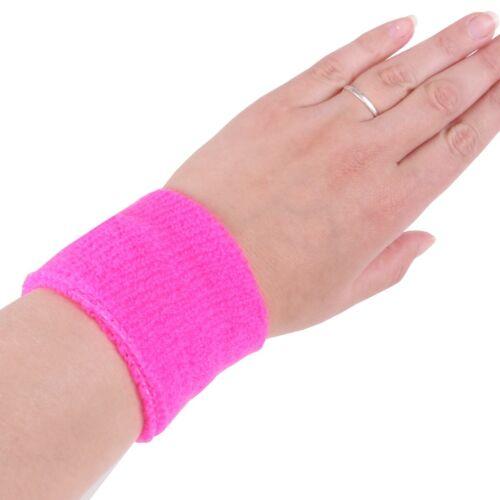 2x NEON PINK SWEATBANDS Wrist Sports Fashion Tennis Squash Badminton Gym PAIR