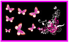PINK / BLACK BUTTERFLY & FLOWERS CAR / WINDOW INSIDE STICKER -  NEW - GIFT