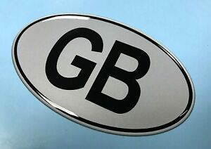 GB-Oval-75mm-x-43mm-Sticker-Decal-Retro-BLACK-on-SILVER-GLOSS-DOMED-GEL
