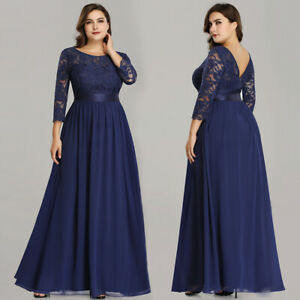 Details about Ever-Pretty US Long Evening Gown Navy 3/4 Sleeve Bridesmaid  Dresses Plus 07412