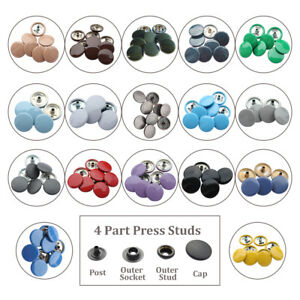 4Part Silver Snap Fasteners Heavy Duty Buttons 15mm Metal Press Studs Color Caps