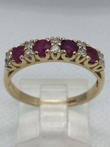 9ct-Gold-Ruby-amp-Diamond-Ring-U-K-Hallmark-Size-Q