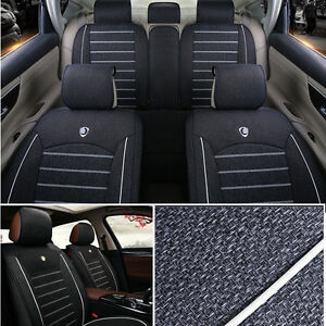 Low Profile Linen Fabric Car Seat Covers Front Rear 5 Seat Sedan