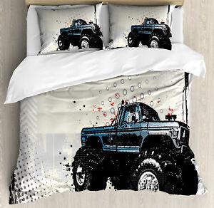 Truck Duvet Cover Set with Pillow Shams Halftone Monster ...