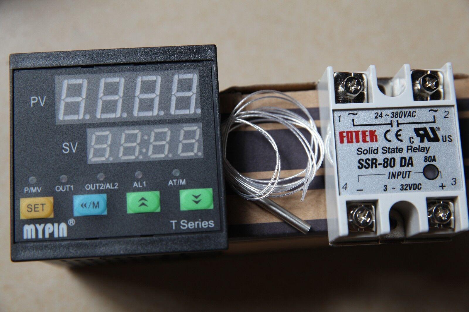 MYPIN  Digital F C PID Thermostat Temperature Controller TA4-SSR +PT100 +80A SSR