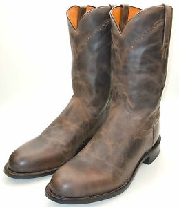 LUCCHESE-M1015-Mens-Western-Cowboy-Roper-Cowboy-Boots-Brown-039-Stone-039-Goat-Leather