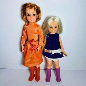 Ideal-Crissy-Doll-1968-amp-Crissys-Cousin-Velvet-Doll-1969-Growing-Hair-Lot-of-2