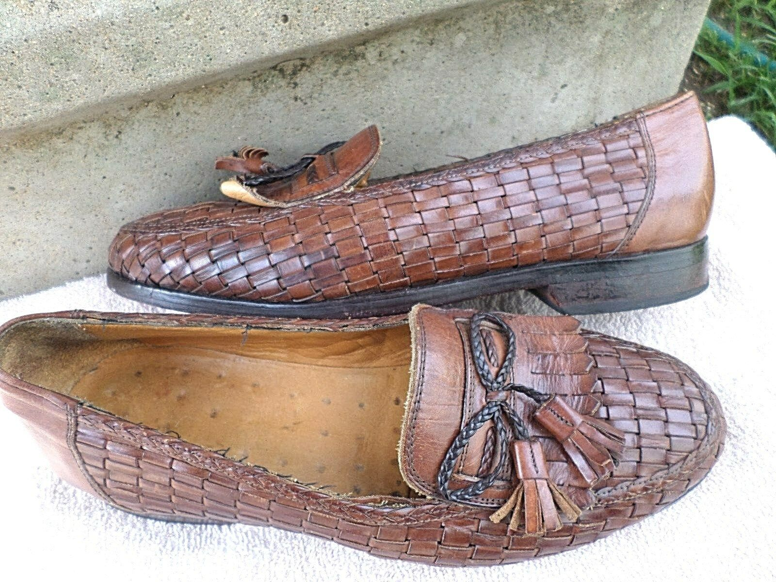 MEN PREOWN TOP QUALITY  NAUTICA  LEATHER BASKET WEAVE LOAFERS-BRWN-sz 9.5 M