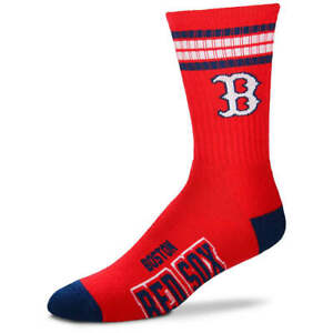 Boston-Red-Sox-For-Bare-Feet-MLB-4-Stripe-Deuce-Crew-Socks-SZ-Med