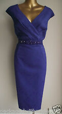 STUNNING MONSOON BLUE/PURPLE ESHA FLORAL JACQUARD LACE JEWEL BEAD SHIFT DRESS 18