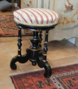 Rare-amp-Tres-Elegant-Tabouret-de-Piano-Second-Empire