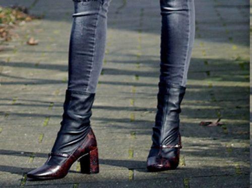 donna nera pelle 38 e pelle Zara di serpente in Stivaletti Stivaletti vqSvd