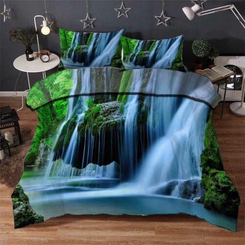 Mountain Waterfall 3D Quilt Duvet Doona Cover Set Single Double Queen King Print