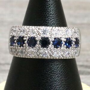 Blue-Sapphire-Moissanite-Band-Ring-Jewelry-14K-White-Gold-Plated-Nickel-Free