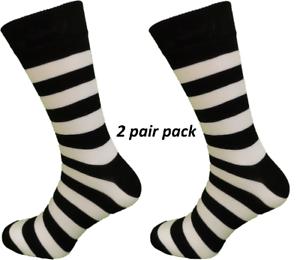 Mens-2-Pair-Pack-Black-White-Striped-Retro-Socks