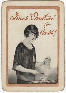 Playing-Cards-1-Single-Card-Old-Wide-OVALTINE-Advertising-Art-Picture-GIRL-LADY