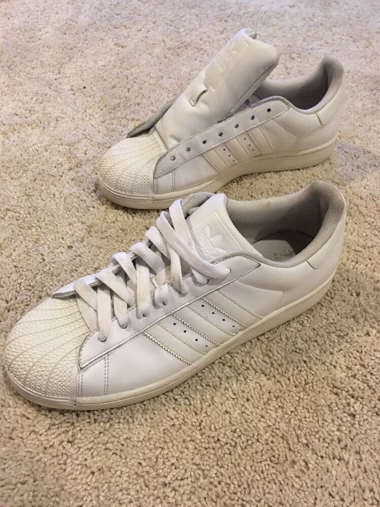 ADIDAS MENS 10.5 SHOES WHITE LEATHER SHELL-TOE SNEAKERS Seasonal clearance sale