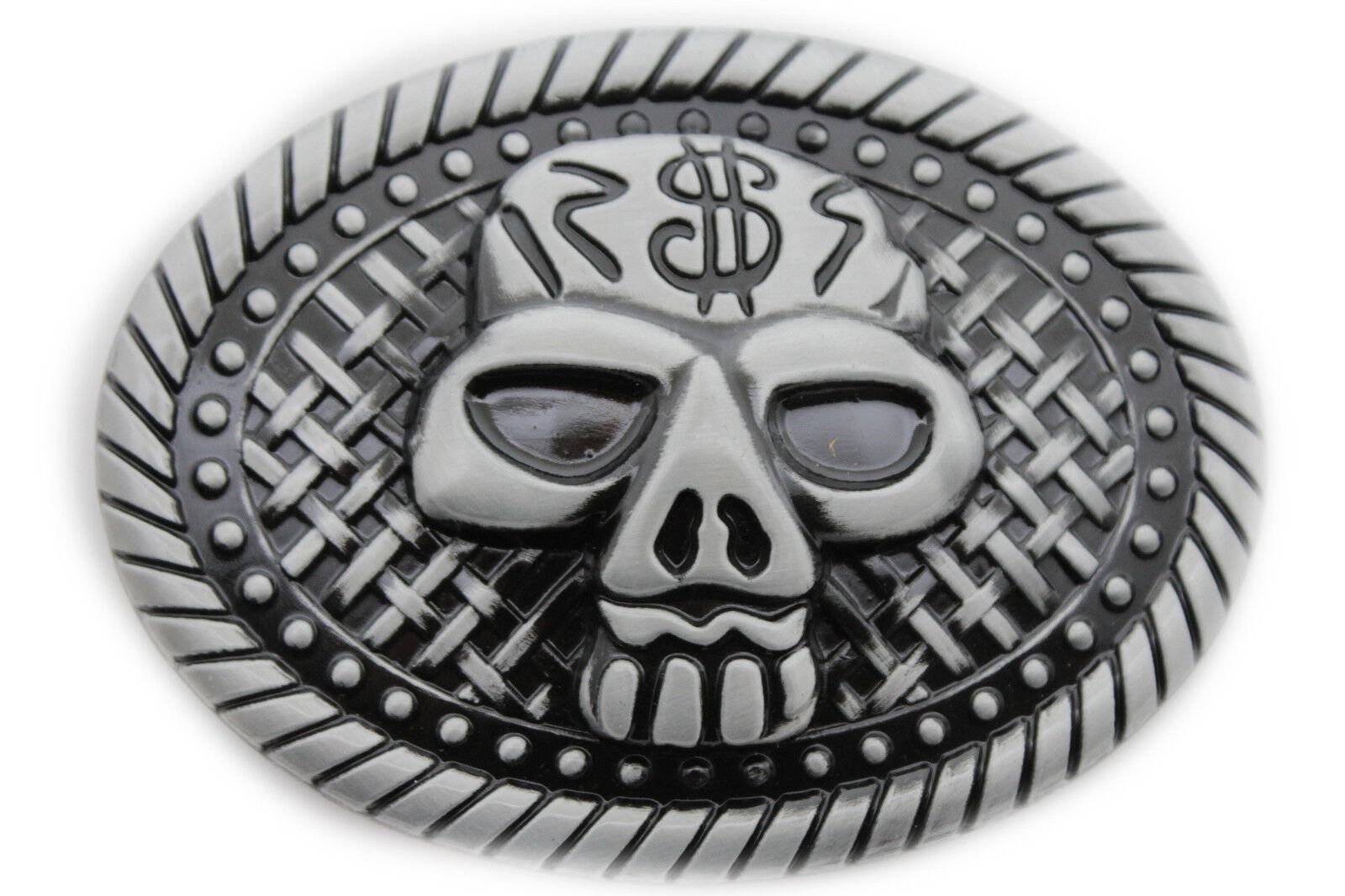 Herren Damen Schnalle Silber Totenkopf Skelett Halloween Black Detail Übergröße