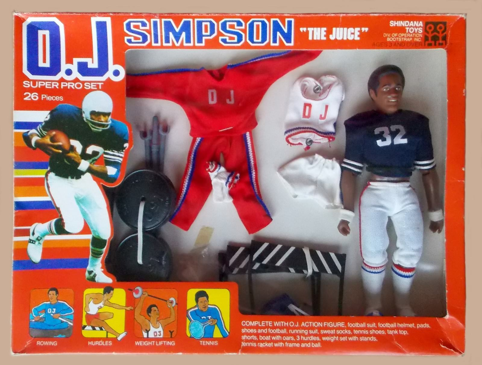 1975 OJ SIMPSON 10  shindana football figure MIB -- SUPER PRO SET  rare variant