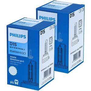 2X-PHILIPS-D1S-WhiteVision-GEN2-120-mehr-Sicht-Xenon-Scheinwerfer-Lampe-DUO
