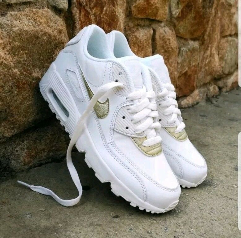 Nike Air Max 90 LTR GS boys Femme trainers blanc  Gold 833376-103