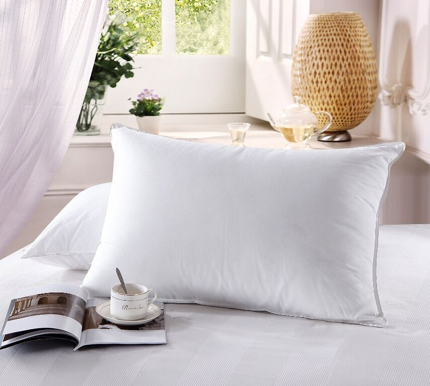 Down Pillows, 750 Fill Power Firm White Down Pillow, 500TC 100%Cotton Cover