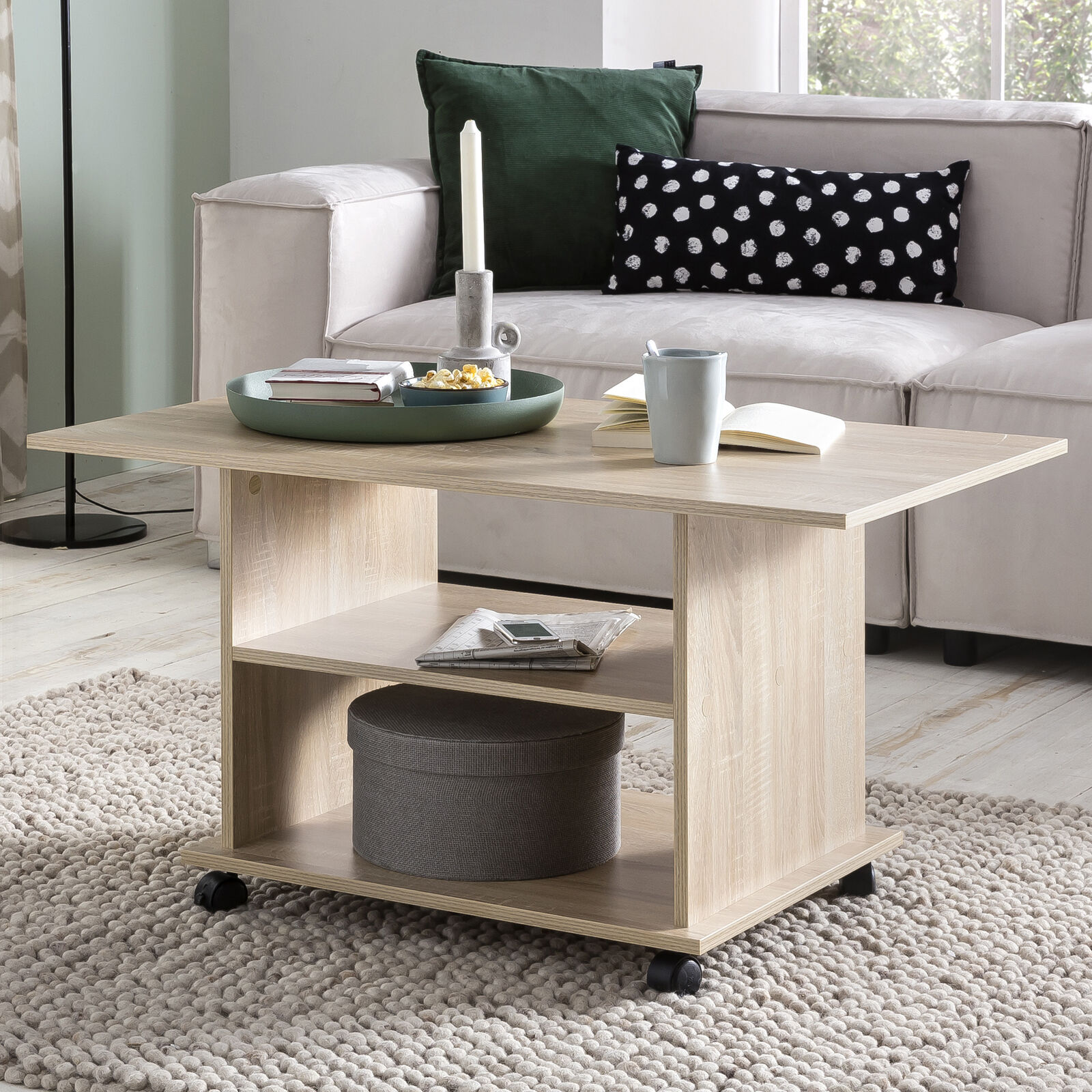 Finebuy sofá mesa Sonoma 95x51x54,5 cm mesa de sofá mesa Modern salón mesa